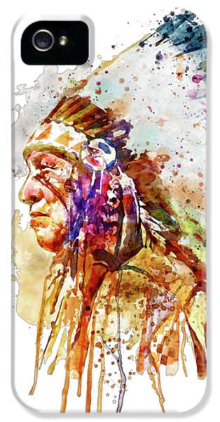 Native American Chief Side Face IPhone 5 Case by Marian Voicu