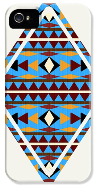 Navajo Blue Pattern Art IPhone 5 Case by Christina Rollo