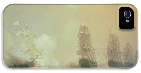 Naval Battle In Chesapeake Bay IPhone 5 Case by Jean Antoine Theodore Gudin