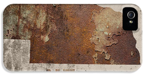 Nebraska iPhone 5 Case - Nebraska State Map Industrial Rusted Metal On Cement Wall With Founding Date Series 039 by Design Turnpike