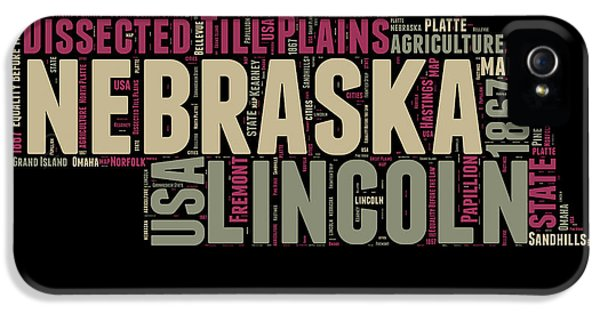 Nebraska iPhone 5 Case - Nebraska Word Cloud 1 by Naxart Studio
