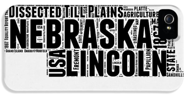 Nebraska iPhone 5 Case - Nebraska Word Cloud 2 by Naxart Studio
