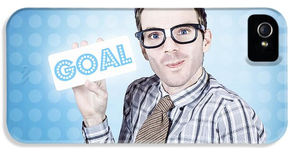 Nerd Businessman Holding Goal Sign Board  IPhone 5 Case by Jorgo Photography - Wall Art Gallery