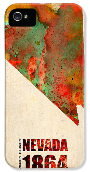 Nevada Watercolor Map IPhone 5 Case by Naxart Studio