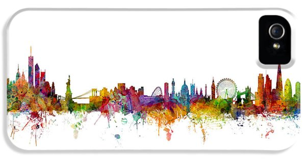 New York And London Skyline Mashup IPhone 5 Case by Michael Tompsett