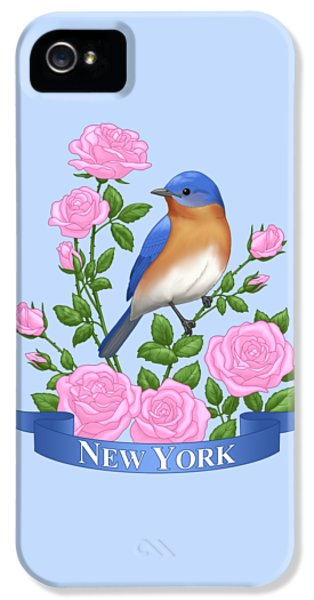 New York Bluebird And Pink Roses IPhone 5 Case