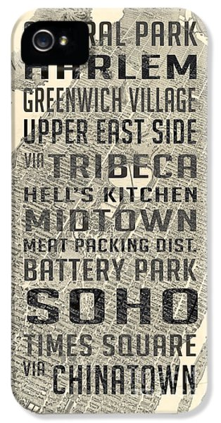 New York City Subway Stops Vintage Map 5 IPhone 5 Case