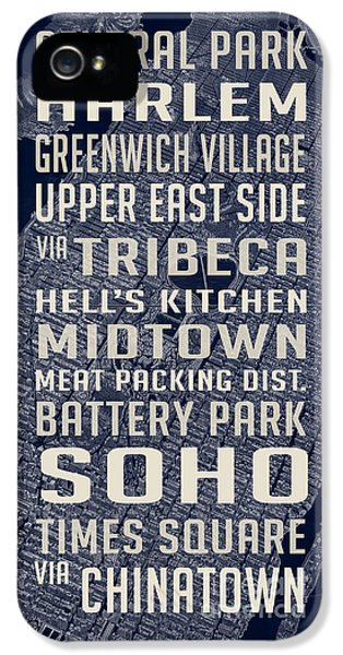 New York City Vintage Subway Stops With Map IPhone 5 Case