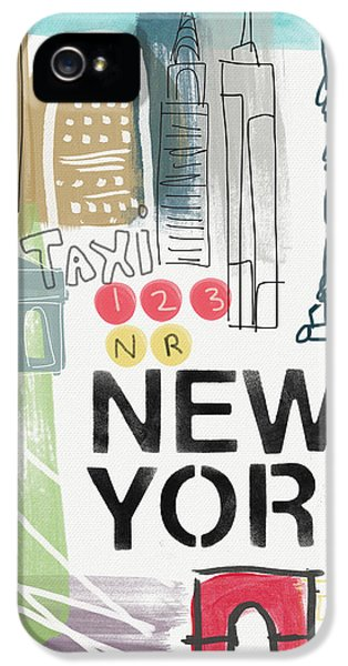 New York Cityscape- Art By Linda Woods IPhone 5 Case by Linda Woods