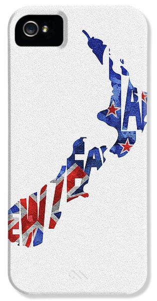 New Zealand Typographic Map Flag IPhone 5 Case