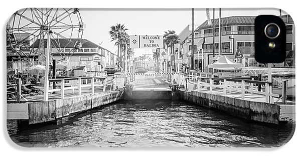 Newport Beach Ferry Dock Black And White Photo IPhone 5 Case by Paul Velgos