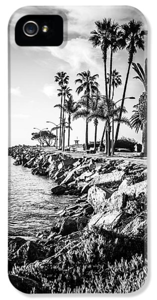 Newport Beach Jetty Black And White Picture IPhone 5 / 5s Case by Paul Velgos