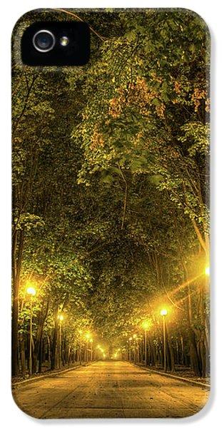 Night Alley Near Lomonosov Moscow University IPhone 5 Case by Alexey Kljatov
