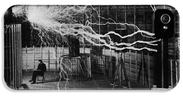 Nikola Tesla - Bolts Of Electricity IPhone 5 Case by War Is Hell Store