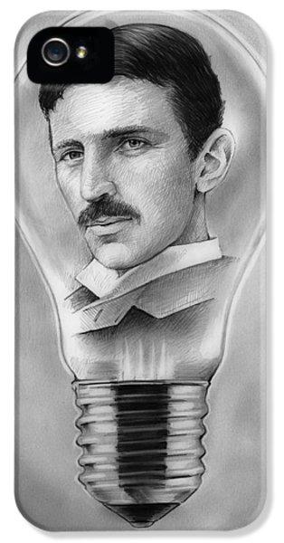 Nikola Tesla IPhone 5 Case by Greg Joens
