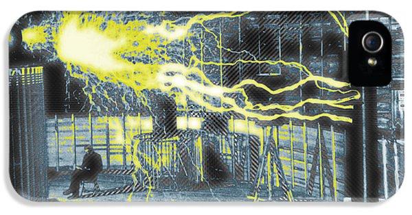 Nikola Tesla Sitting In His Experimental Station Reimagined 2 IPhone 5 Case by Tony Rubino
