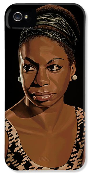 Rhythm And Blues iPhone 5 Case - Nina Simone Painting 2 by Paul Meijering