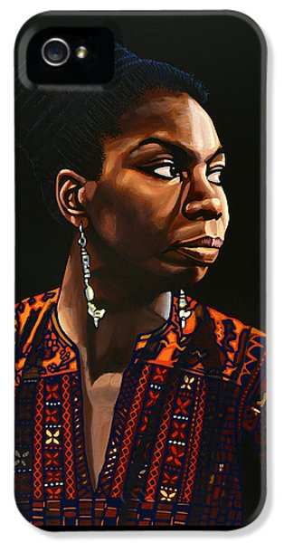 Nina Simone Painting IPhone 5 Case by Paul Meijering