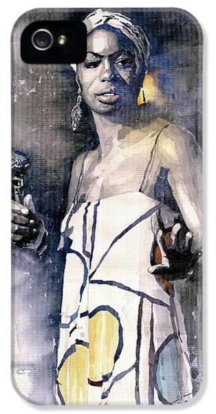 Music Legend iPhone 5 Cases - Nina Simone iPhone 5 Case by Yuriy  Shevchuk