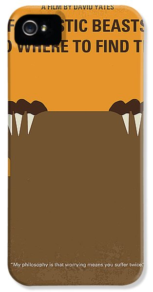 Wizard iPhone 5 Case - No962 My Fantastic Beasts And Where To Find Them Minimal Movie Poster by Chungkong Art