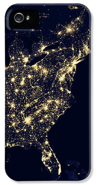 North America At Night IPhone 5 Case by Happy Home Artistry