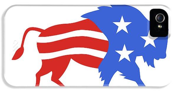 North American Bison Usa Flag Retro IPhone 5 Case by Aloysius Patrimonio