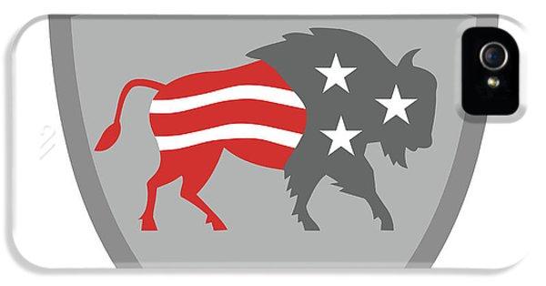 North American Bison Usa Flag Shield Retro IPhone 5 Case by Aloysius Patrimonio