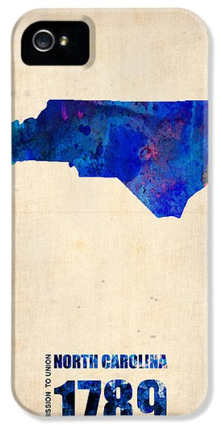 North Carolina Watercolor Map IPhone 5 Case by Naxart Studio