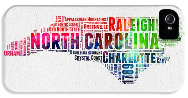 North Carolina Watercolor Word Cloud Map IPhone 5 Case by Naxart Studio