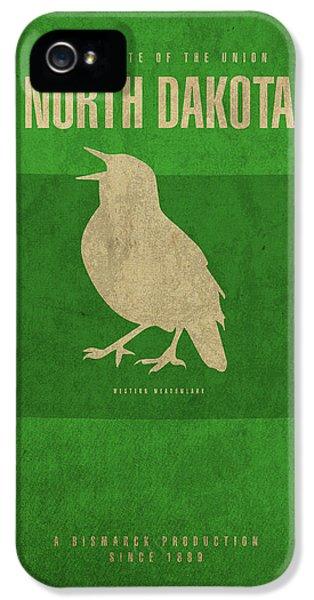 North Dakota State Facts Minimalist Movie Poster Art IPhone 5 Case by Design Turnpike