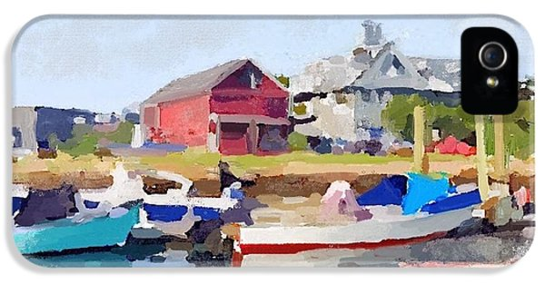 North Shore Art Association At Pirates Lane On Reed's Wharf From Beacon Marine Basin IPhone 5 Case by Melissa Abbott