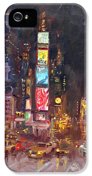Nyc Times Square IPhone 5 Case by Ylli Haruni
