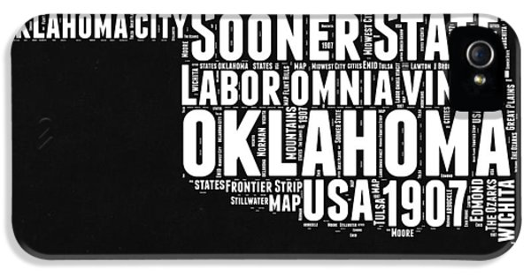 Oklahoma Black And White Map IPhone 5 Case by Naxart Studio