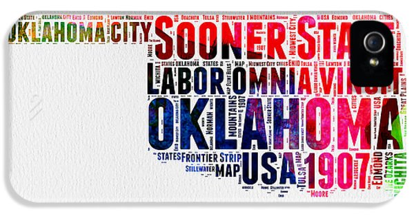 Oklahoma Watercolor Word Cloud  IPhone 5 Case by Naxart Studio