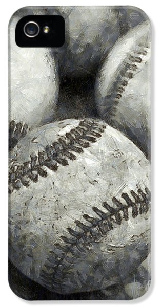 Baseball iPhone 5 Case - Old Baseballs Pencil by Edward Fielding