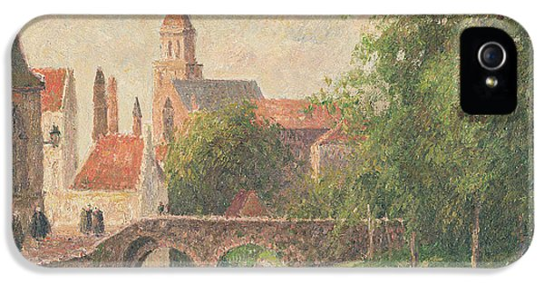 Town iPhone 5 Case - Old Bridge In Bruges  by Camille Pissarro