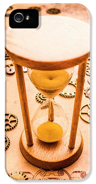Old Hourglass Near Clock Gears On Old Map IPhone 5 Case by Jorgo Photography - Wall Art Gallery