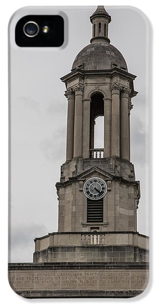 Old Main From Front Clock IPhone 5 Case by John McGraw