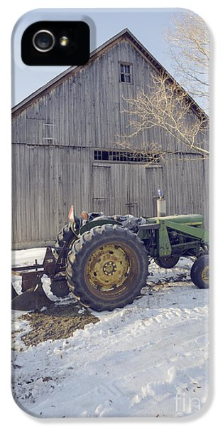 Etna iPhone 5 Case - Old Tractor By The Barn Winter Etna by Edward Fielding