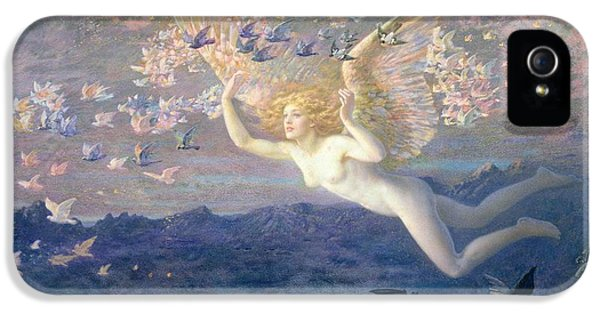 Angelic iPhone 5 Cases - On the Wings of the Morning iPhone 5 Case by Edward Robert Hughes