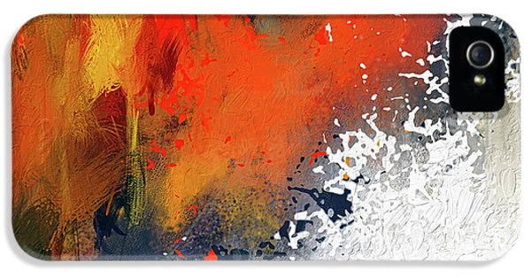 Splashes At Sunset - Orange Abstract Art IPhone 5 Case by Lourry Legarde