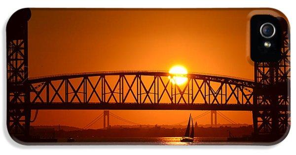 Gil iPhone 5 Cases - Orange Sunset Brooklyn Bridges Sailboat iPhone 5 Case by Maureen E Ritter