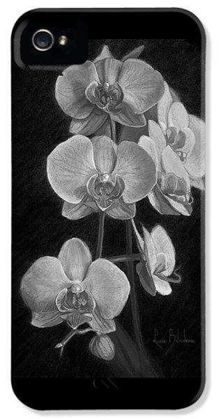 Orchid iPhone 5 Case - Orchids - Black And White by Lucie Bilodeau