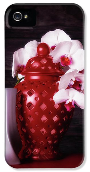 Orchid iPhone 5 Case - Orchids With Red And Gray by Tom Mc Nemar