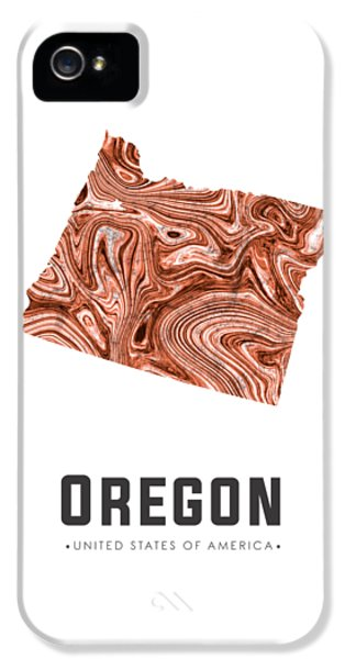 Oregon State iPhone 5 Case - Oregon Map Art Abstract In Brown by Studio Grafiikka