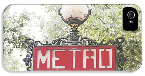 Transportation iPhone 5 Case - Ornate Paris Metro Sign by Ivy Ho