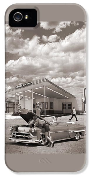 Over Heating At The Sinclair Station Sepia IPhone 5 Case by Mike McGlothlen