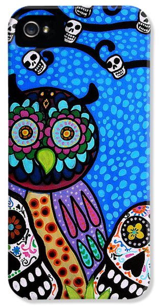 Mexican iPhone 5 Cases - Owl And Sugar Day Of The Dead iPhone 5 Case by Pristine Cartera Turkus