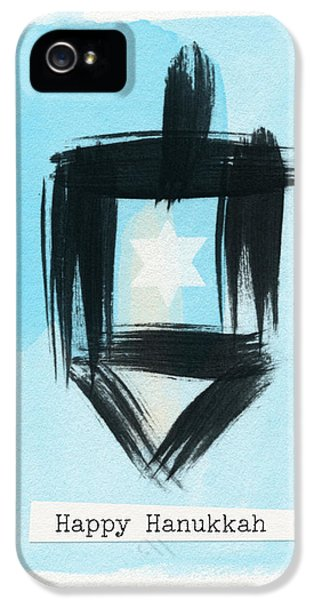 Painted Dreidel Happy Hanukkah- Design By Linda Woods IPhone 5 Case by Linda Woods