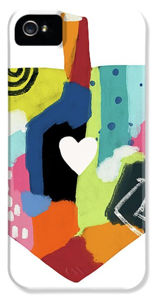 Painted Dreidel With Heart- Art By Linda Woods IPhone 5 Case by Linda Woods